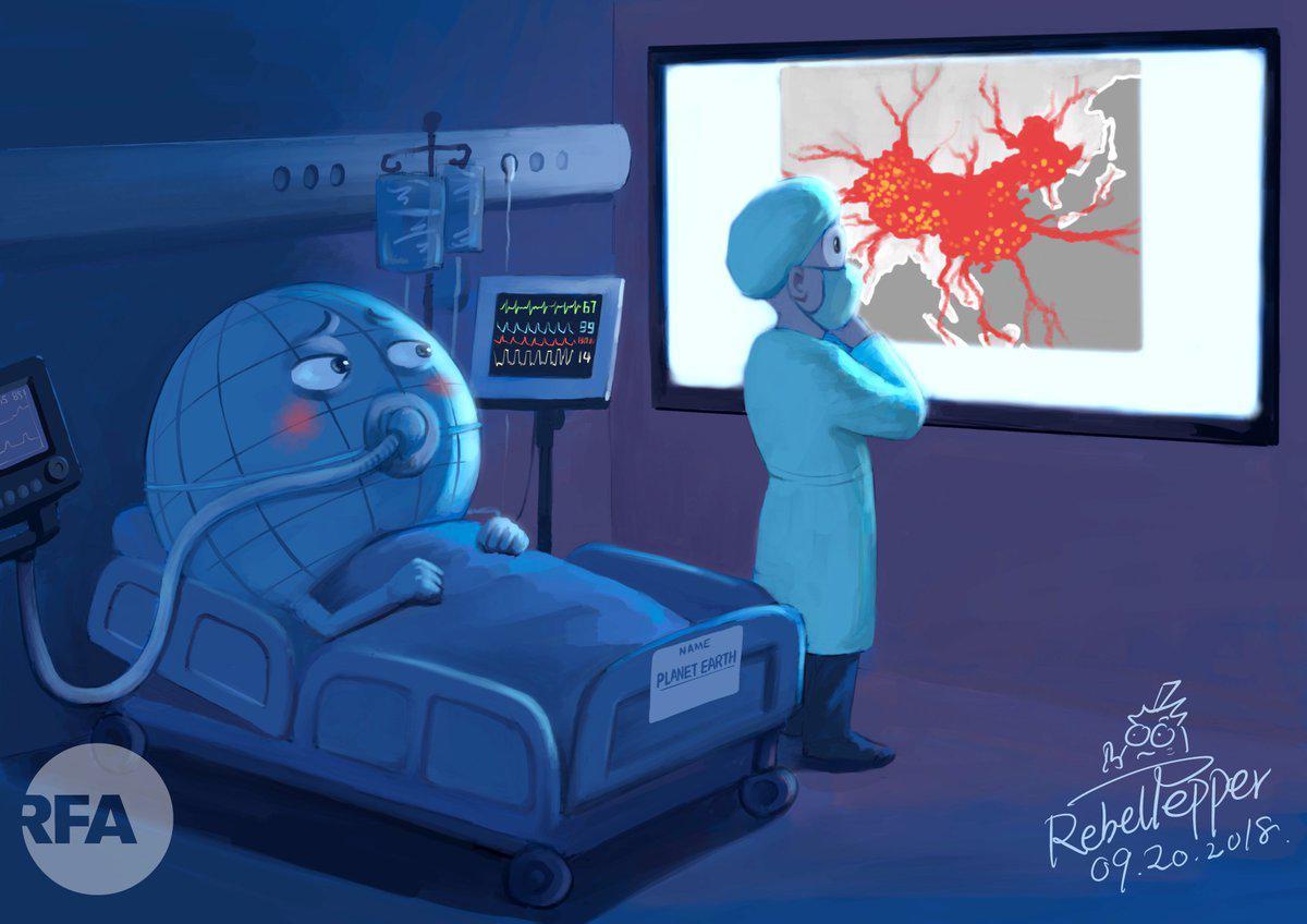 漫畫家:中共正成為世界癌症